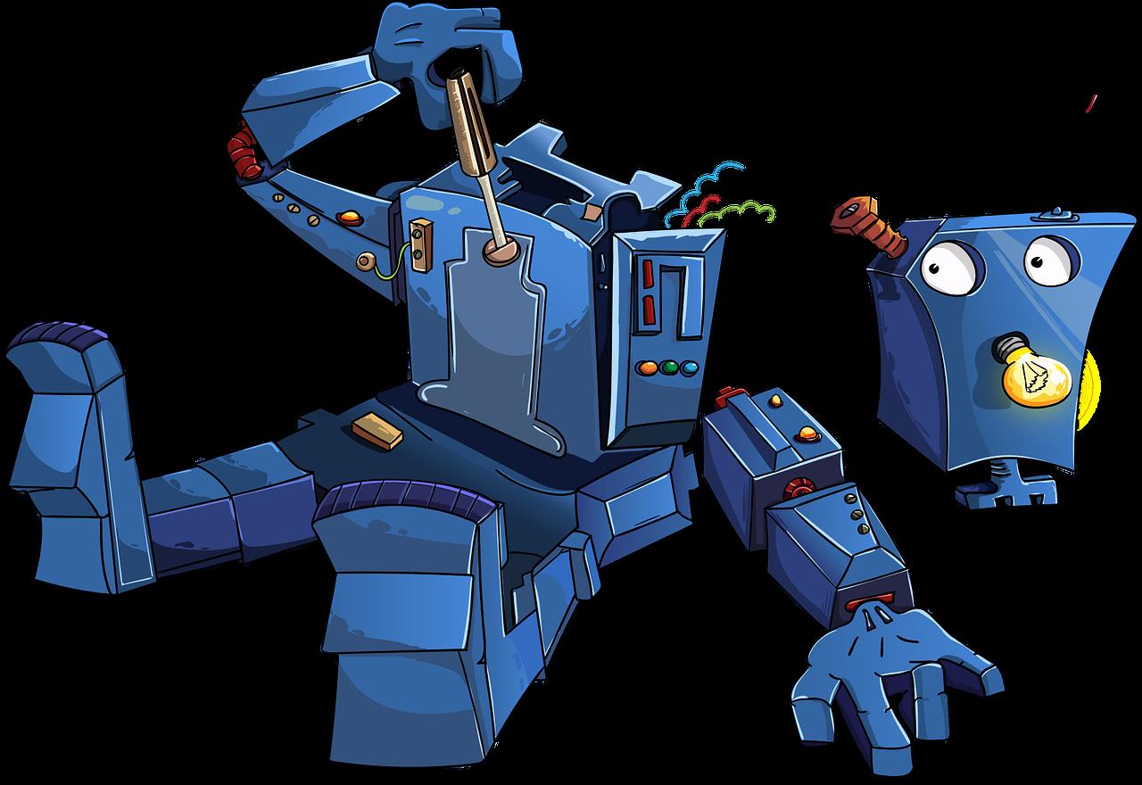 robot, disassembled, blue