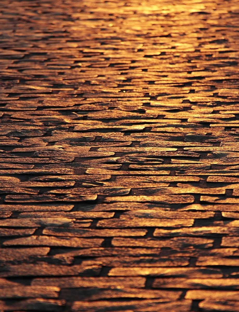 cobblestones, paving stones, dusk