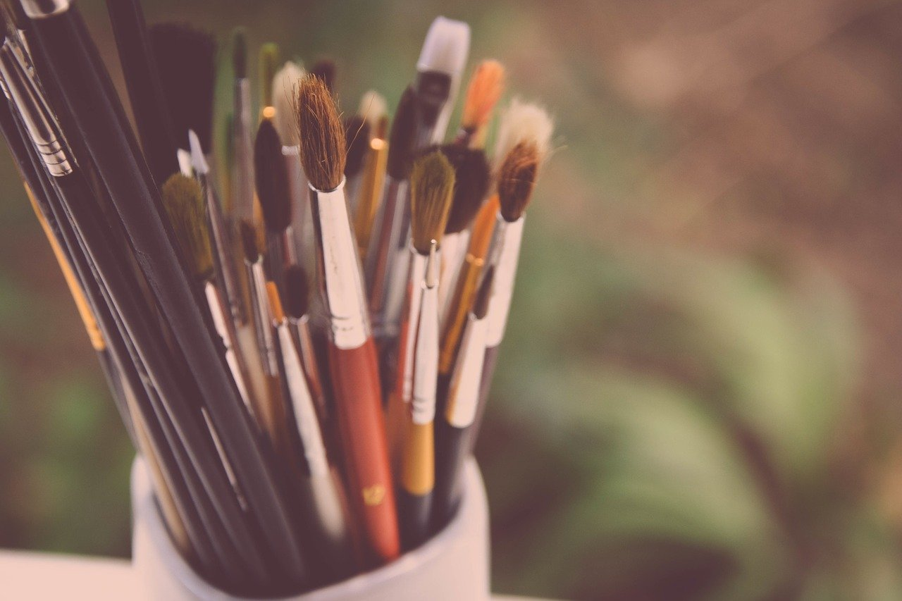 paint brushes, painting, creativity